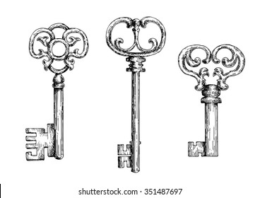 Sketch of isolated medieval door keys or skeletons with ornamental bows, decorated by forged curlicues and twirls.