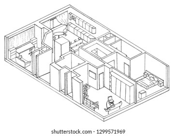 Sketch, isometry, the apartment plan