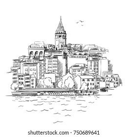 Sketch of Istanbul cityscape with famous turkish landmark Galata tower and seagulls flying in sky, Vector hand drawn illustration