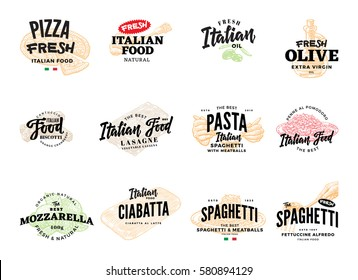 Sketch italian food logotypes collection for product design with traditional dishes and meals isolated vector illustration