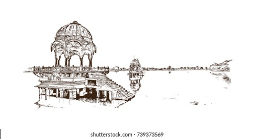 Sketch of Jaisalmer fort in the Indian state of Rajasthan. Vector illustration.