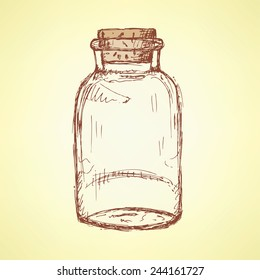 Sketch jar with cork in vintage style, vector