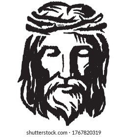 Sketch of jesus christ. pen hands drawing on tablet. Holy God. drawing on white background.
