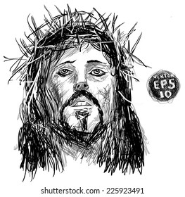 Sketch of jesus christ. pen hands drawing on tablet. Vector EPS 10. Holy God. drawing on white background.