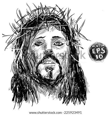 Sketch Jesus Christ Pen Hands Drawing Stock Vector (Royalty Free) 225923491 - Shutterstock