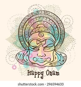 Sketch of Kathakali dancer face on floral design decorated background for South Indian festival, Happy Onam celebration.