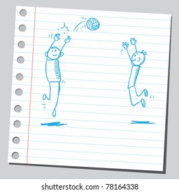 Sketch of a kids playing volleyball