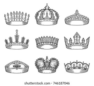 Sketch for king or monarch, prince or queen, princess crown, pope tiara or headdress. Set of isolated royalty sign or imperial insignia. Jewelry and royalty, wealth and medieval or victorian theme