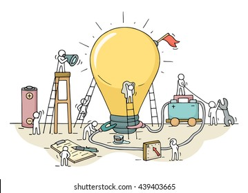 Sketch of lamp idea construction with working little people, battery, flag. Doodle cute miniature of building lighting lamp and preparing for the new creative. Hand drawn cartoon vector for business.