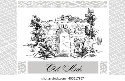 Sketch of landscape with old arch in old garden in toile de jouy black and white with grid frame