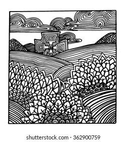 Sketch landscape of patterns. Landscape style doodle. Nature style doodle.