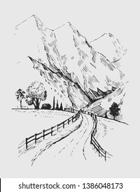 Sketch of a landscape with a road and mountains. Hand drawn illustration converted to vector