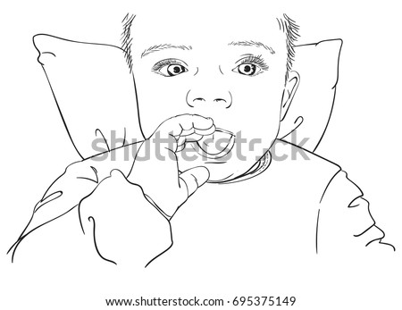 Sketch Laying On Pillow Baby Portrait Stock Vector Royalty Free