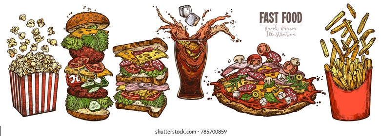 Sketch levitation fast food collection with burger, box with french fries and popcorn, glass with splashed cola and ice cube, pizza; vector hand drawn illustration of flying ingredients