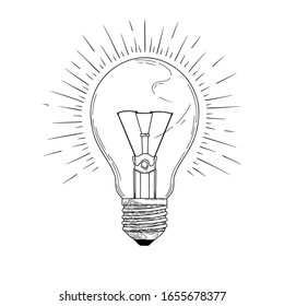 Sketch lightbulb isolated on a white background. Vector illustration