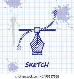 Sketch line Bezier curve icon isolated on white background. Pen tool icon.  Vector Illustration