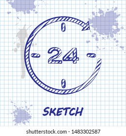 Sketch line Clock 24 hours icon isolated on white background. All day cyclic icon. 24 hours service symbol.  Vector Illustration
