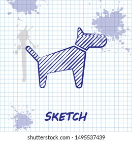 Sketch line Dog icon isolated on white background.  Vector Illustration