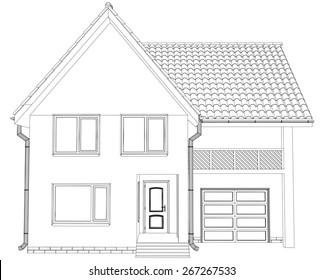 Sketch line at home. Vector illustration. Illustration created of 3d.