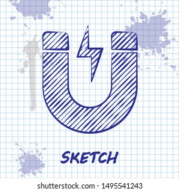 Sketch line Magnet with lightning icon isolated on white background. Horseshoe magnet, magnetism, magnetize, attraction sign.  Vector Illustration