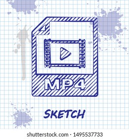 Sketch line MP4 file document. Download mp4 button icon isolated on white background. MP4 file symbol.  Vector Illustration