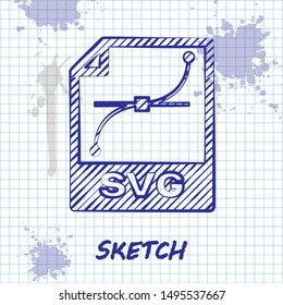 Sketch line SVG file document. Download svg button icon isolated on white background. SVG file symbol.  Vector Illustration