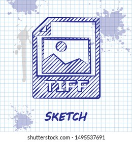 Sketch line TIFF file document. Download tiff button icon isolated on white background. TIFF file symbol.  Vector Illustration