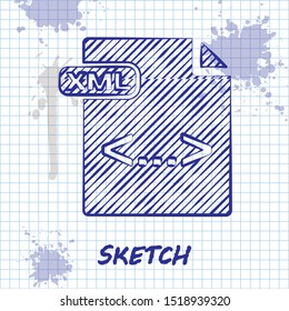 Sketch line XML file document. Download xml button icon isolated on white background. XML file symbol.  Vector Illustration