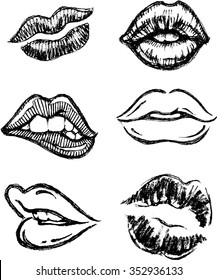 Sketch Lips Set-Hand drawn sultry lips/kiss mark in different variations