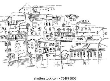 Sketch of Lisbon city view