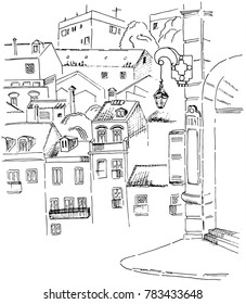 Sketch of Lisbon street view for street light and street name and houses
