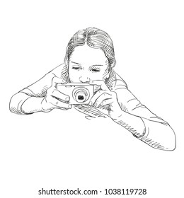 Sketch of little girl with compact photo camera view from above, Hand drawn illustration
