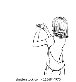Sketch of little girl taking photo with compact photo camera or smartphone, View from back, Hand drawn vector linear illustration