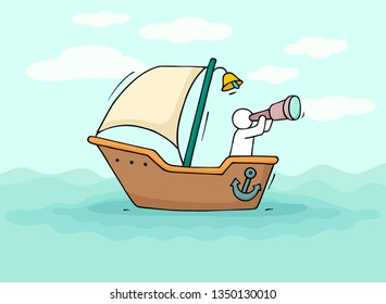 Sketch of little man sail by boat. Doodle cute miniature scene about transportation. Hand drawn cartoon vector illustration for vacation design.