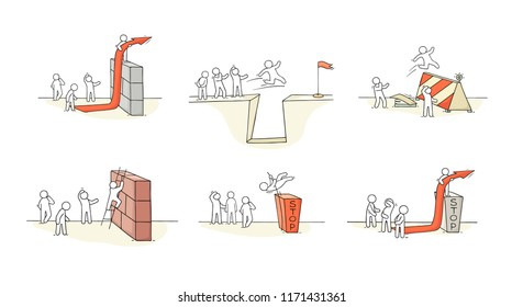 Sketch of little people with bariier. Doodle cartoon scene about overcoming the obstacle. Hand drawn vector illustration for business design.