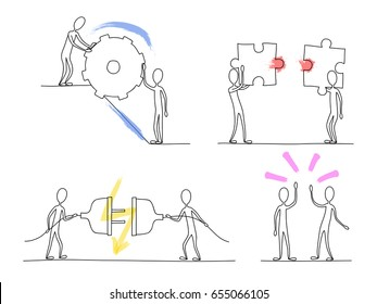 Sketch little people miniature concept scene of effective teamwork. Hand drawn cartoon pastel color vector illustration for business, web design.