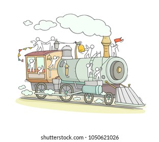 Sketch of little people on train. Doodle cute miniature scene about transportation. Hand drawn cartoon vector illustration for vacation design.