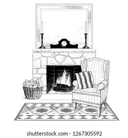 Sketch of the living room. Cozy interior with easy chair, carpet and fireplace with firewood , mirror, candlesticks and mantel clocks. Vector illustration in vintage style.