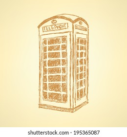 Sketch London phone cabin, vector vintage background