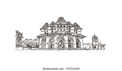 Sketch of Lotus Mahal Hampi Hampi, Karnataka, India in vector illustration. Ancient stone palace structure with tranquil gardens, arches & elaborate carvings.
