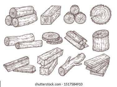 Sketch lumber. Wood logs, trunk and planks. Forestry construction materials hand drawn isolated vector set