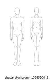Sketch of male and female body. Models. Front view. Template of male and female body for drawing clothes. You can print and draw directly on sketches. Fashion Illustration.