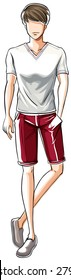 Sketch of a male in white t-shirt and red shorts