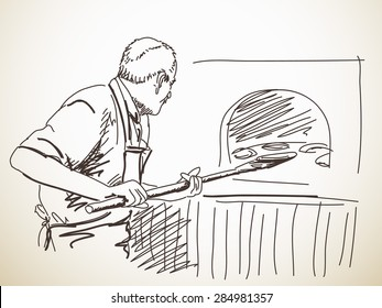 Sketch of man, baking a bread, Hand drawn illustration