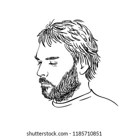 Sketch of man with beard and closed eyes portrait isolated, Vector hand drawn linear illustration