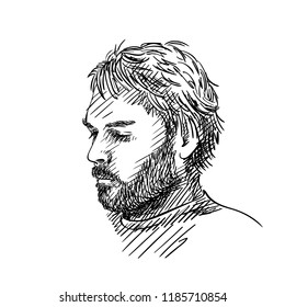 Sketch of man with beard and closed eyes portrait isolated, Vector hand drawn illustration