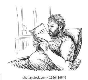 Sketch of man with beard is reading book and sitting comfortable on armchair in room, Hand drawn vector illustration with cross-hatching