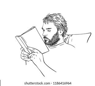 Sketch of man with beard is reading book, Hand drawn vector linear illustration of man's head, arms holding book and part of armchair