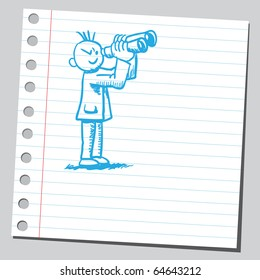 Sketch of a man with binoculars