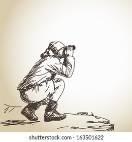 Sketch of man with binoculars Vector